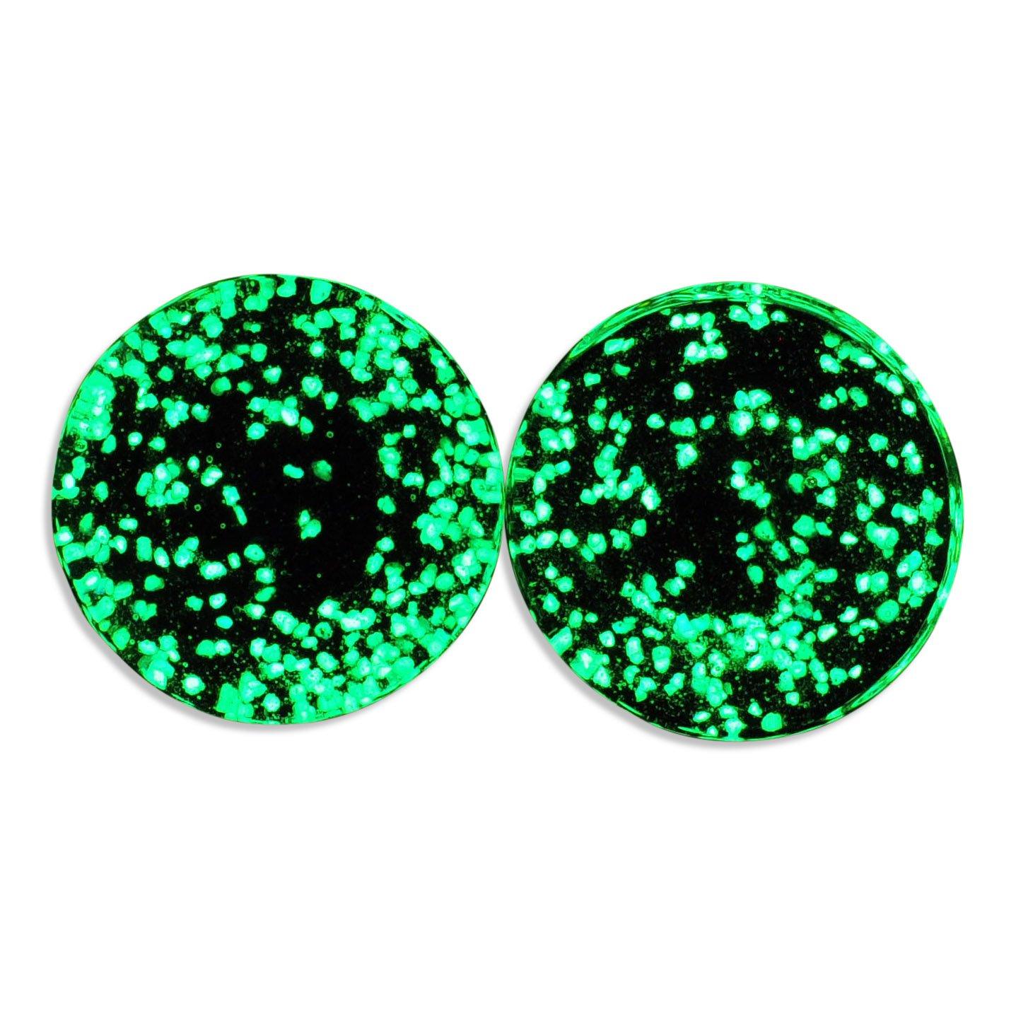 Glow in the Dark Single Flare Glass Plugs Ear Gauges