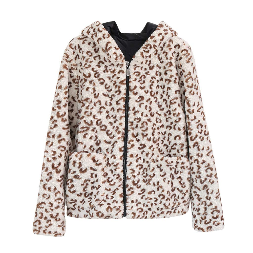 Lefthigh Ladies Fashion Leopard Hooded Short Wool Granular Jacket Coat Women Long Sleeve Pockets Pellet Fleece Outwear by Lefthigh