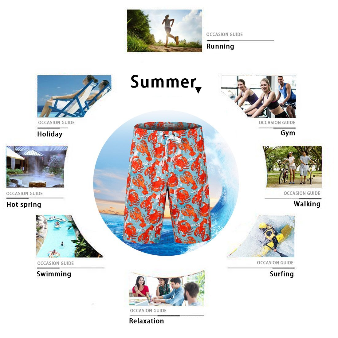 APTRO Men's Swim Trunks Crab Printing Bathing Suit #HW016 XXL by APTRO (Image #7)