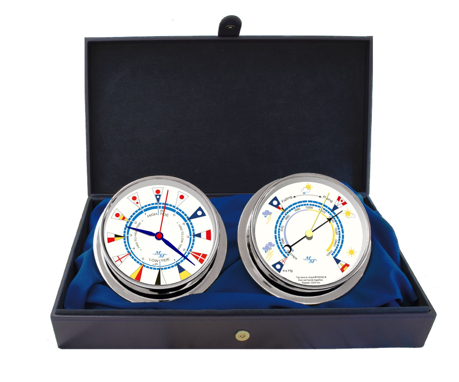 Cabin Gift Set Time & Tide Clock & Barometer by Master-Mariner, Chrome finish, Ivory flag dial