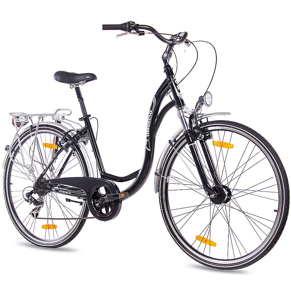KCP - PRIMAVERA Bicicleta de paseo retro para mujer, tamaño 28 (71,1 cm), color negro, 7 velocidades: Amazon.es: Deportes y aire libre