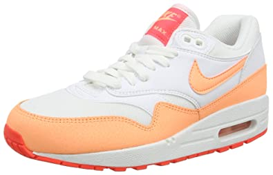 sports shoes 48464 c5b17 Image Unavailable. Image not available for. Color  Nike Womens Air Max 1  Essential White HOT Lava Sunset Glow ...