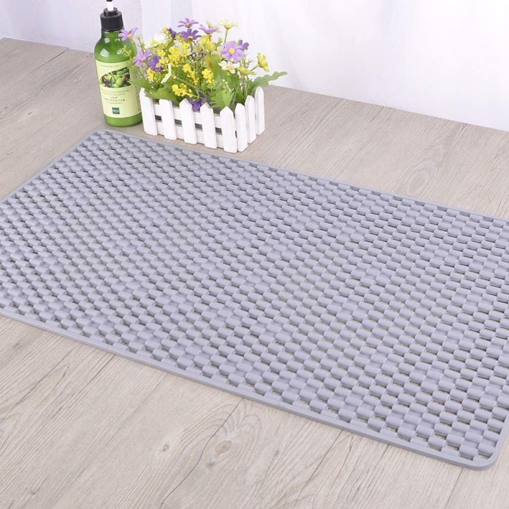 PLLP Bathroom Bath Mat, Multi-Color Transparent, Large Rectangular, Eco-Friendly, Bathroom Mat, Hollowed Out,Gray,7040cm