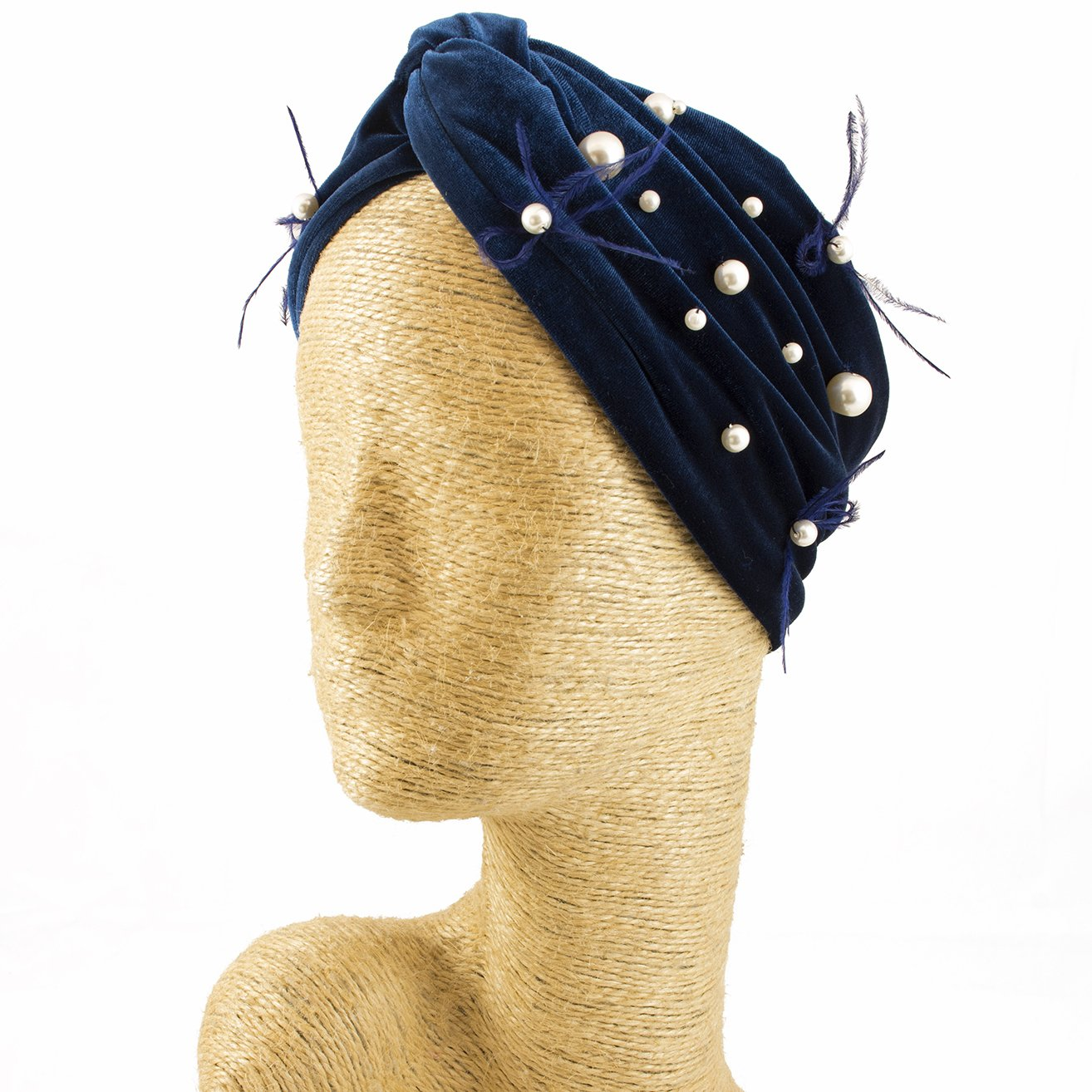 Fascinator, Velvet Headbands, Millinery, Worldwide Free Shipment, Delivery in 2 Days, Customized Tailoring, Designer Fashion, Pearl, Head wrap, Boho Accessories, Blue, Beaded Headbands, Jewelled