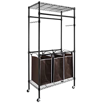Amazon.com: Alvorog – Organizador de ropa con ruedas, cesta ...