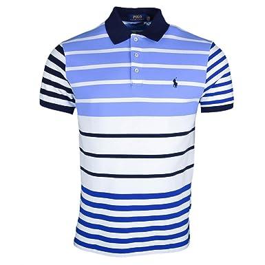 Ralph Lauren Polo piqué rayé Bleu et Blanc Logo Marine régular pour Homme 5c4cd456bfa1