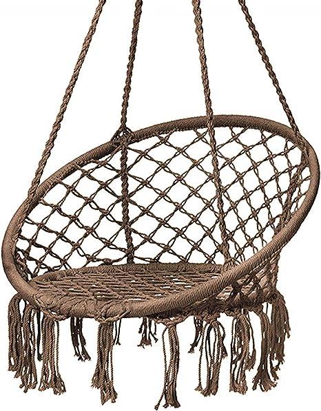 Amazon Com Karriw Hammock Chair Macrame Swing Cotton Hanging Macrame Hammock Swing Chair Ideal For Indoor Outdoor Home Bedroom Patio Deck Yard Garden Coffee Kitchen Dining