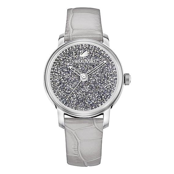 Swarovski Mujer Reloj 5376074 Crystalline horas Quartz Reloj, pulsera de piel, gris, color