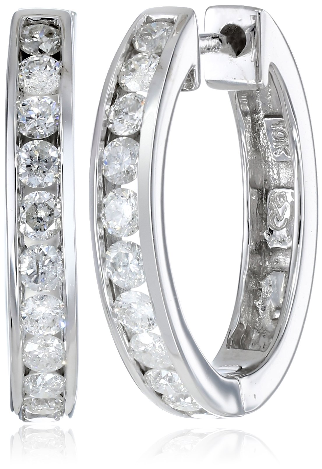 10k White Gold Channel-Set Diamond Hoop Earrings (3/4 cttw, H-I Color, I2-I3 Clarity)