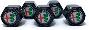 Buycleverly Alfa Romeo Logo Metal Tire Valve Stem Caps Set/5 Pcs for Vehicles Car Suv's Stelvio Giulia 4C Spider QUADRIFOGLIO