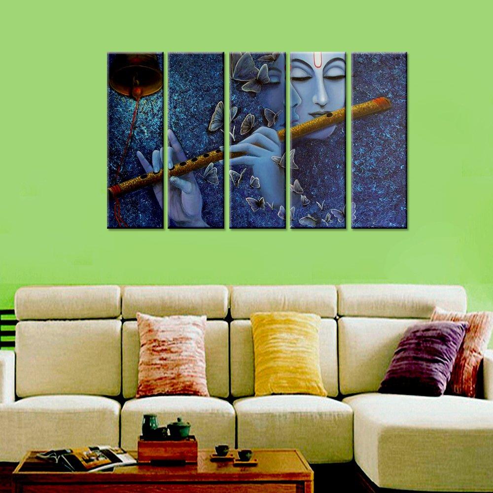 Wall Mantra 5 Panel Radha Krishna & Butterfly Wall Art Canvas Photo Painting