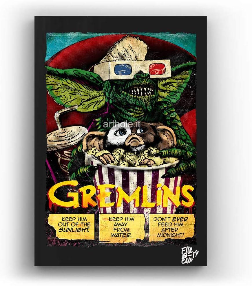Gremlins, Cult Movie by Joe Dante, Steven Spielberg - Pop-Art Original Framed Fine Art Painting, Image on Canvas, Artwork, Horror Movie Poster