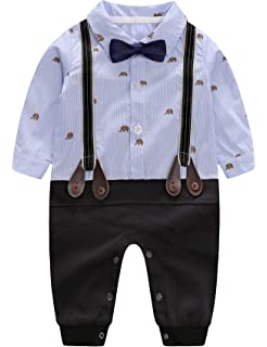 D.B.PRINCE Infant Newborn Baby Boy Long Sleeves Gentleman Romper Suits Dress Clothes Outfits with Bow