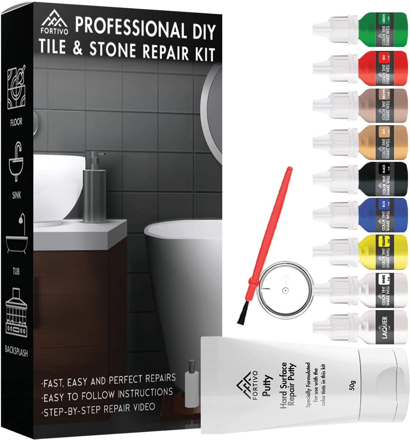 Tile Repair Kit Stone Repair Kit - Porcelain Repair Kit for Cracked Stone, Crack Chip Ceramic Floor - Tile Gap Filler & Repair Tile Paint - Granite Filler Repair Kit & Laminate Floor Scratch Remover