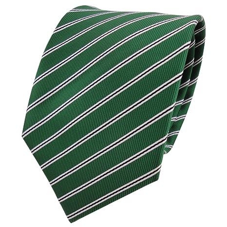 TigerTie - Corbata - verde verde esmeralda negro blanco rayas ...