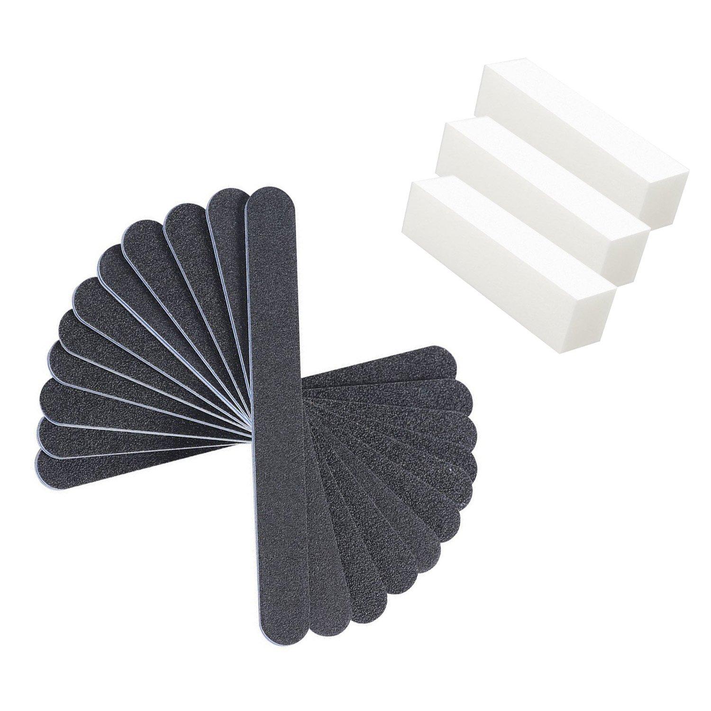 10pz unghie lavabile doppio 100/180limetta con 3pezzi Set porta buffer Shengchu