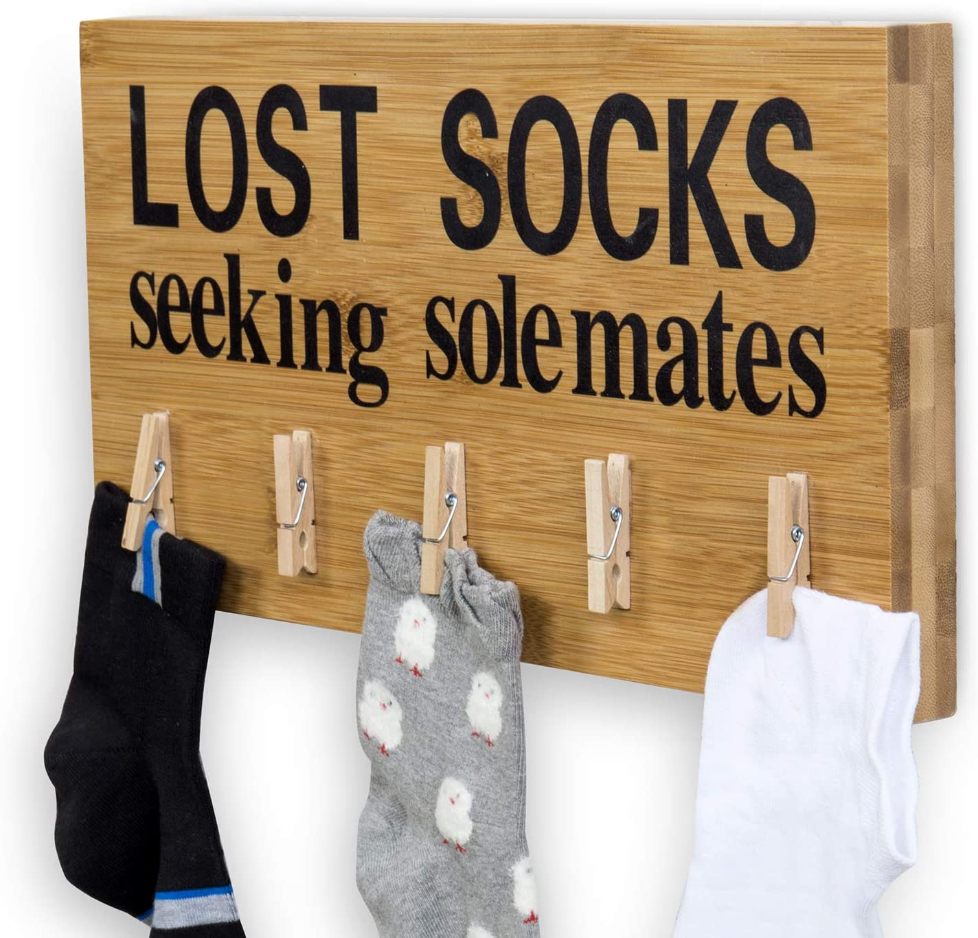 MyGift Lost Socks Seeking Solemates Natural Bamboo Laundry Room Wall Decor Sign with 5 Clothes Pins