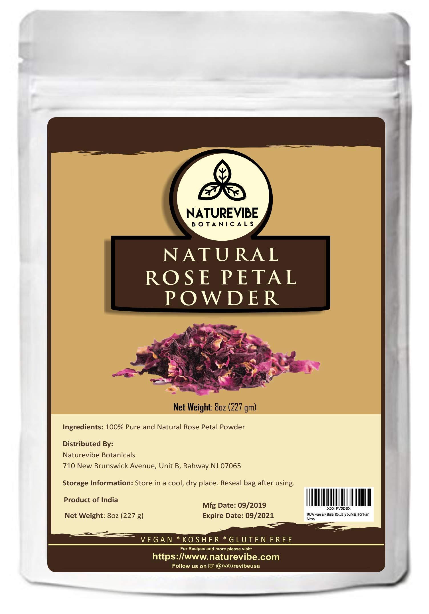 Naturevibe Botanicals 100% Pure & Natural Rose Petal Powder, 8 ounces | Hair and skincare [Packaging may vary]