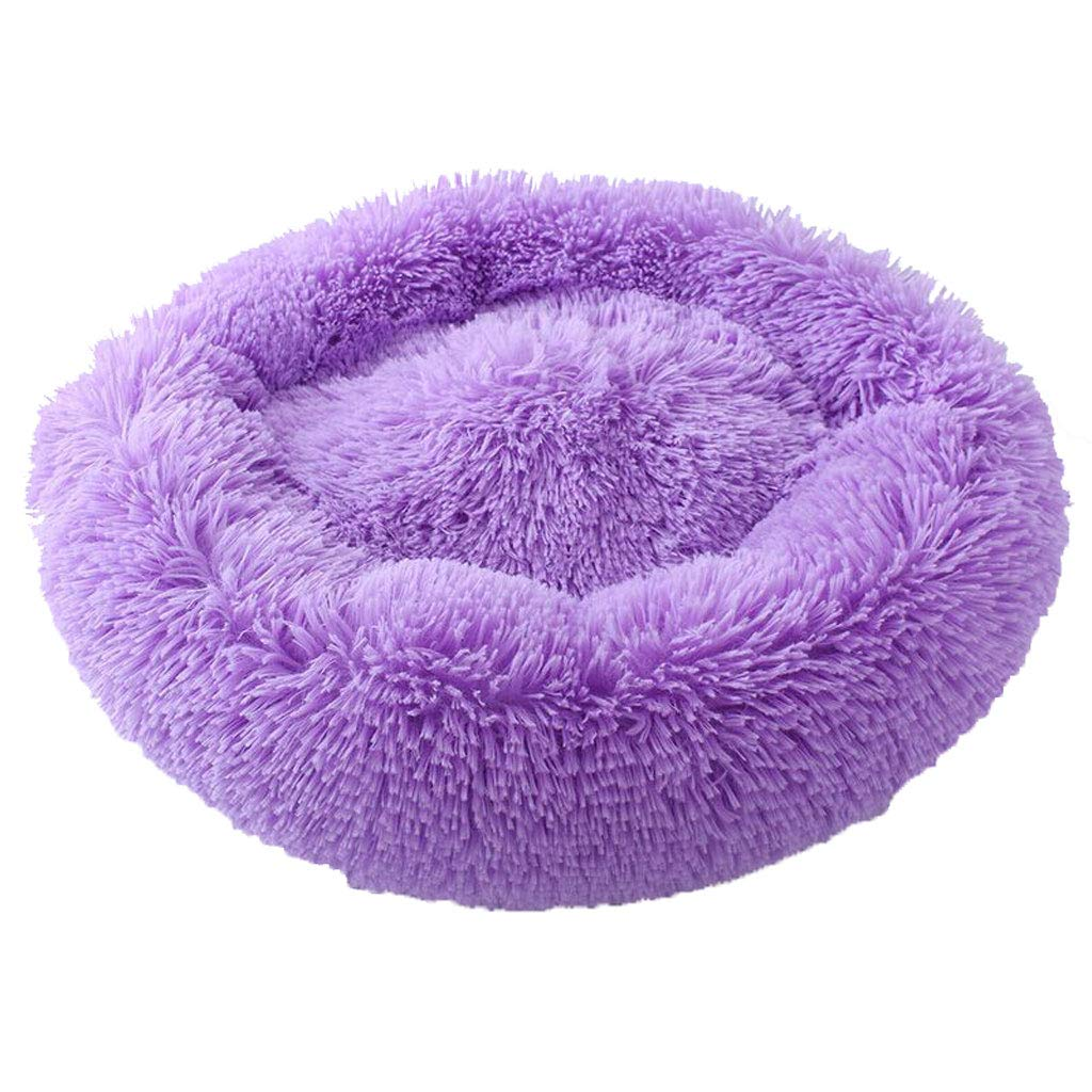 PURPLE 50x50cm PURPLE 50x50cm Washable Fluffy Pet Pad Cushion Bed, Round Fleece Cat Dog Mat Nest, Soft, Warmer, Non-Slip, (color   Purple, Size   50x50cm)