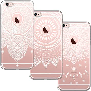[3 Pack] Funda iPhone 6, Funda iPhone 6S, Blossom01 Funda Ultrafina Suave Funda de Silicona TPU con Linda Caricatura Para iPhone 6 / iPhone 6S - 3 * ...