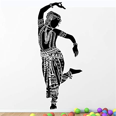 Buy Stickme Beautiful Indian Classical Dance Bharatanatyam Woman Dancer Creative Colorful Wall Sticker Sm818 Pvc Vinyl 100cm X 40 Cm Online At Low Prices In India Amazon In