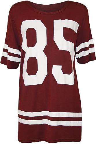 WearAll - donna '85' pressione Baseball T-Shirt a manica corta maglia Top - Nero - dimensioni 36-42
