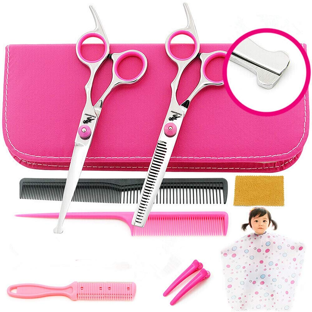 6.0 inch Professional Barber Round Safety Scissors Set - Kids Haircut Salon Cape - Bang Hair Scissor - Salon Hairdressing Shear for Baby by Freelander