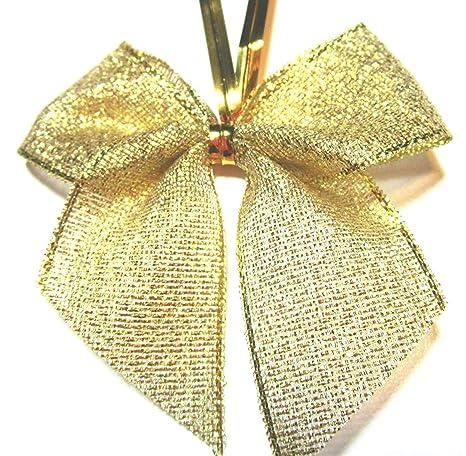 Schleifen Weihnachtsbaum.24 Stück Lurex Glitzer Schleifen Weihnachtsbaum 6 Cm Mit Extra Langem Befestigungs Clip Gold Glänzend Neu
