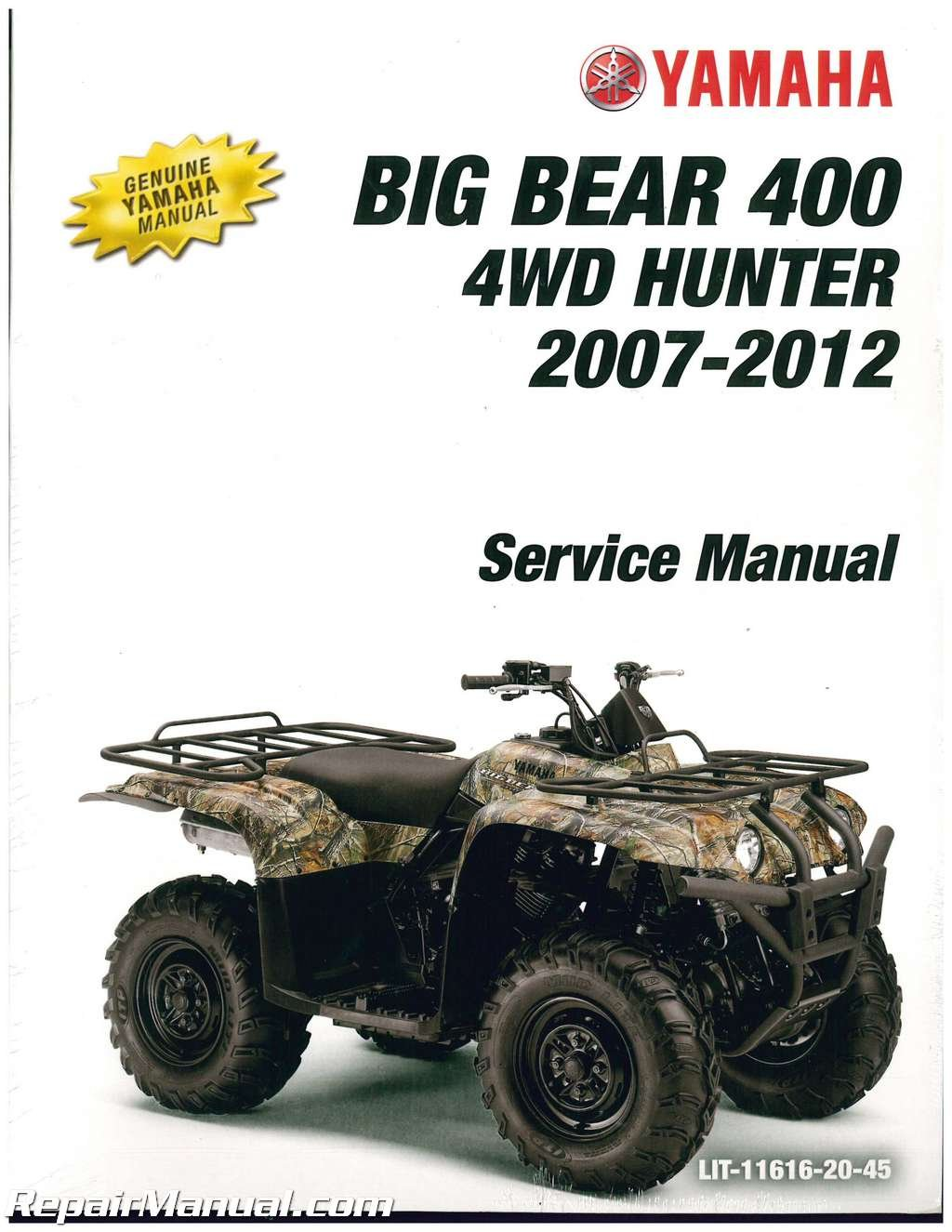 Read Online LIT-11616-20-45 2007-2012 Yamaha YFM400 Big Bear 400 4X4 ATV Service Manual pdf epub