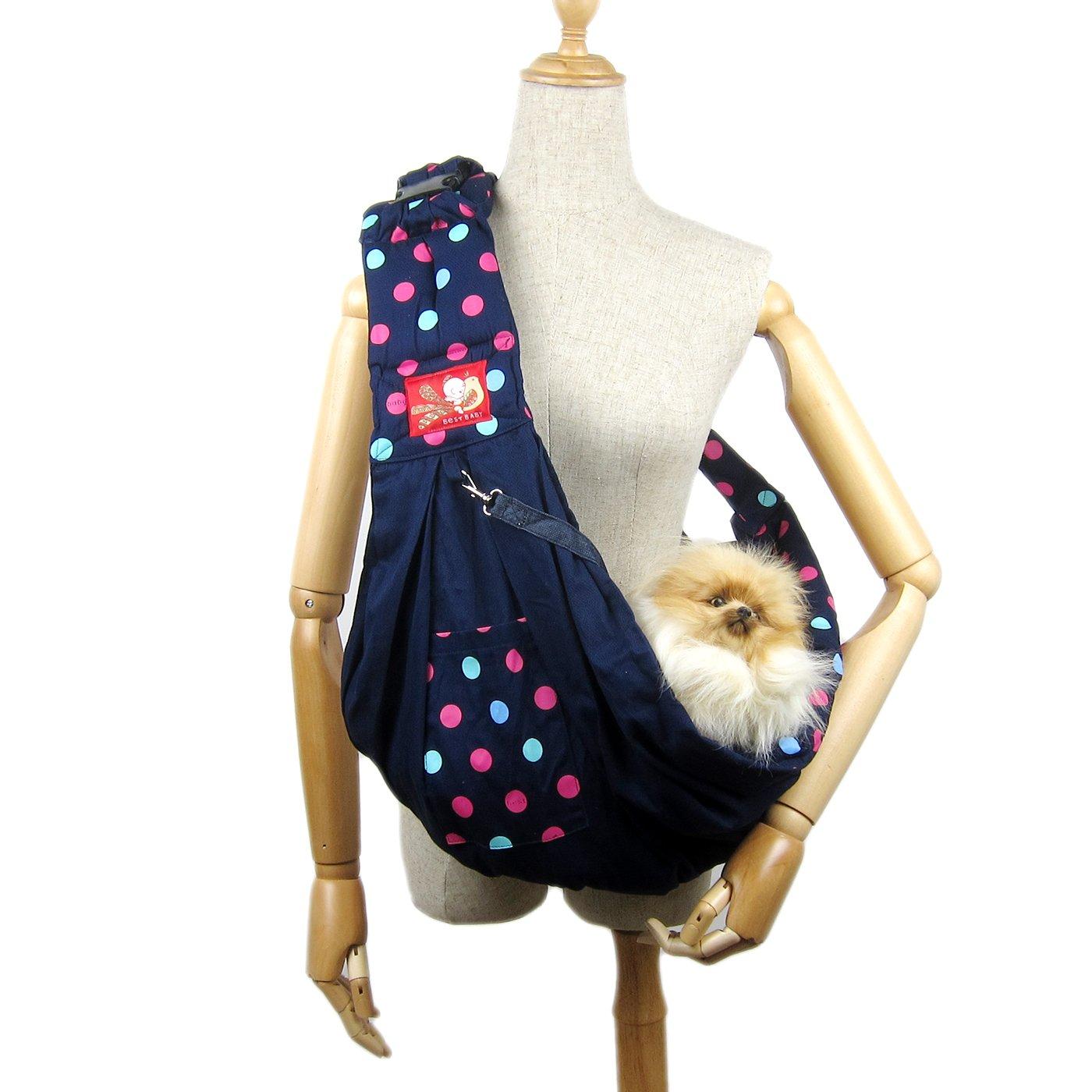 Alfie Pet by Petoga Couture - Hollis Pet Sling Carrier with Adjustable Strap - Color: Navy