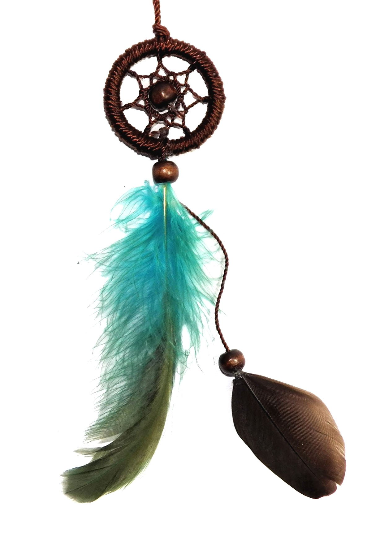 Dreamcatcher Necklace Brown Cotton Cord Wooden Beads Feather Handmade Bohemian (DC10008)