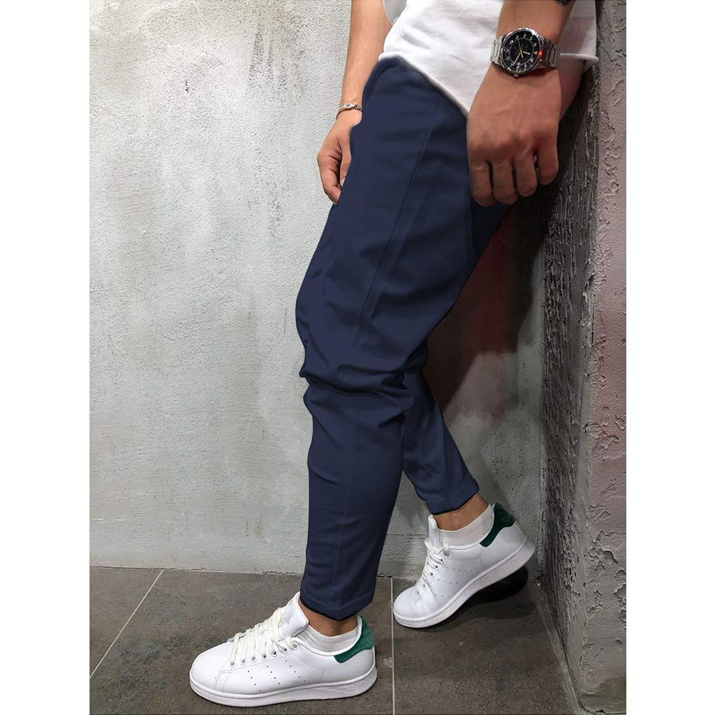 Men Casual Long Pants Male Casual Tie with Solid Color Eight-Color Pants Sport Trousers