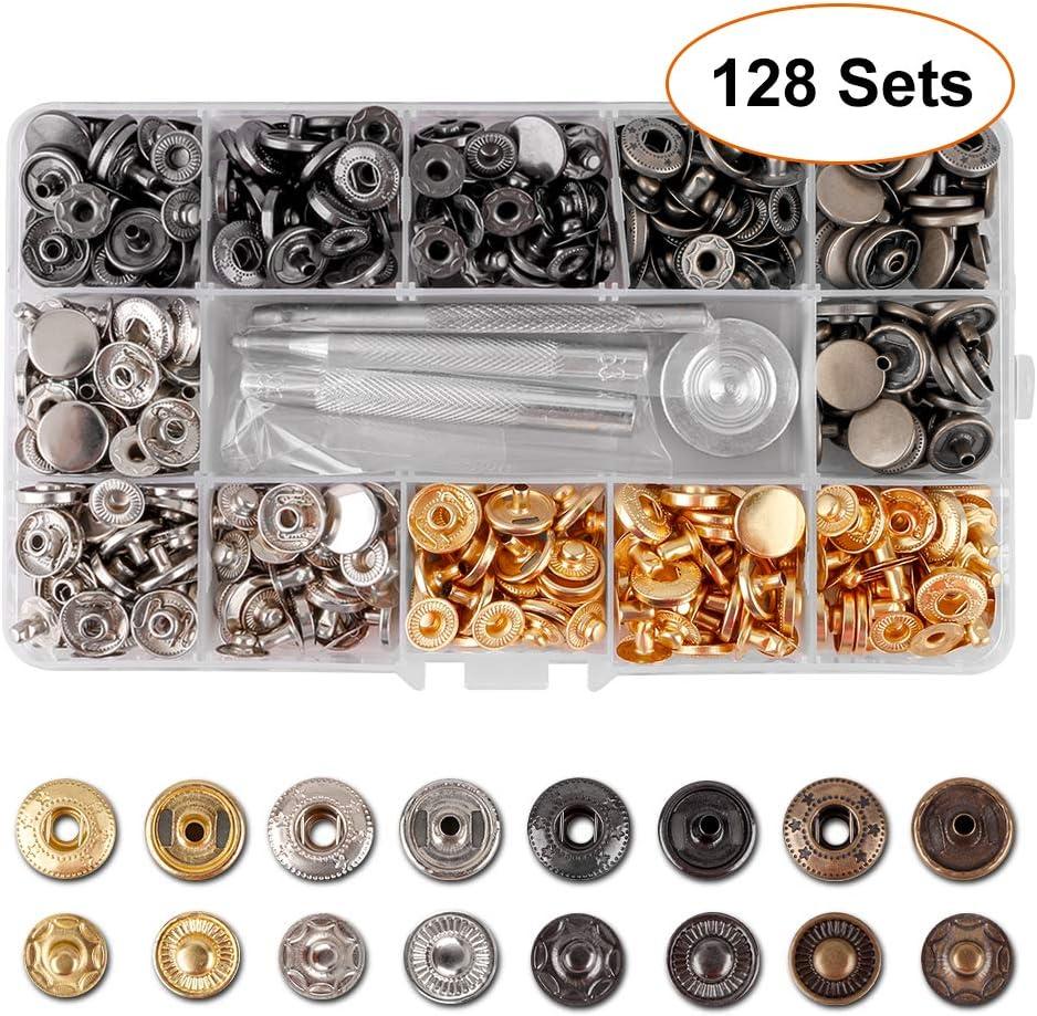 6 Farben, 12 mm Kupfer Druckkn/öpfe Metall Bronze Kleidung Snaps Taste mit Fixierwerkzeug Kit f/ür Leder Handwerk Jacke Brieftasche Handtasche Druckknopf Set - 128Sets