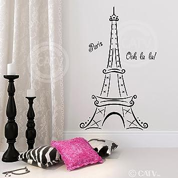 Eiffel Tower Ooh La La Paris Vinyl Wall Decal Sticker (72u0026quot;H X 39u0026quot Part 83