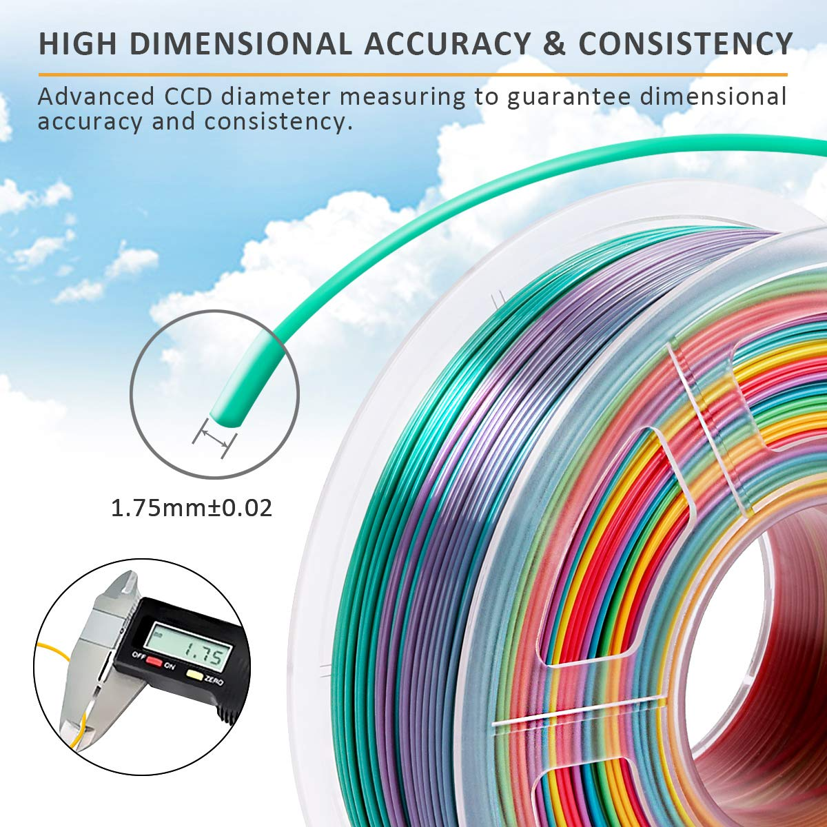 PLA Rainbow 1,75 mm Filamento PLA multicolore per stampante 3D Sunlu PLA bobina da 1 kg precisione dimensionale +//-0,02 mm