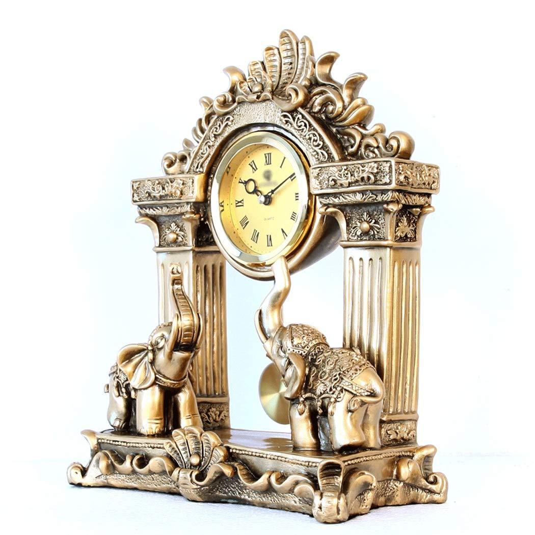 HONGNA European Mute Resin Clock Clock Lucky Town House Elephant Pendulum Clock Retro Quartz Table Clock Living Room Creative Desktop Decoration Clock (Color : B) by HONGNA (Image #5)