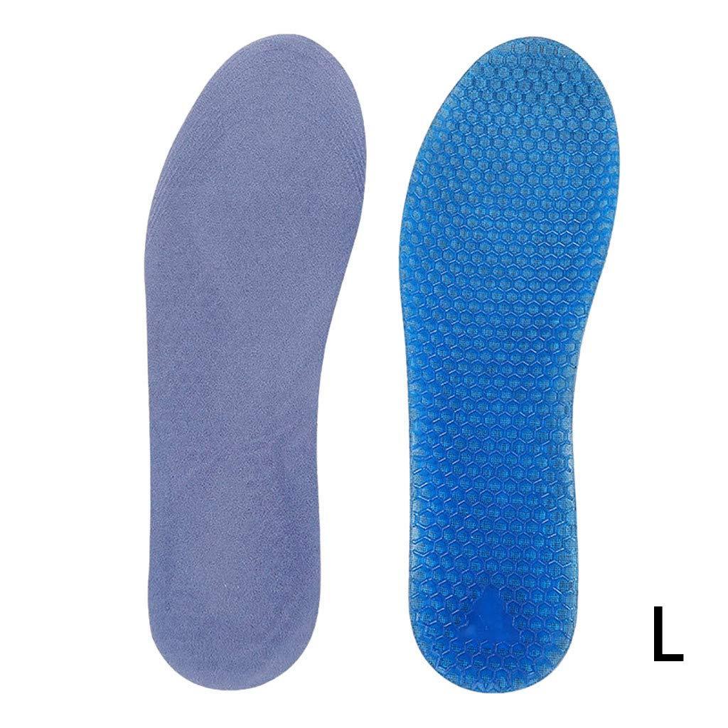 CapsA Cuttable Shoe Insoles for Men Women Ultra-Flex Gel Insoles Shock Absorption Anti Odor Sport Comfort High Elastic Memory Breathable Insole (Blue, L)