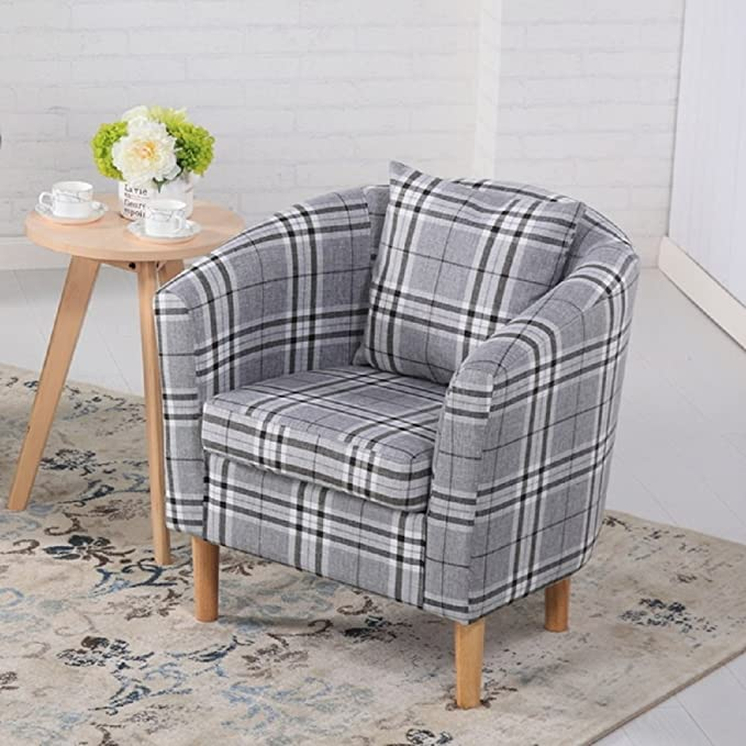 Britoniture Tartan Fabric Tub Chair Armchair with Pillow Seating Dining Living Room Office