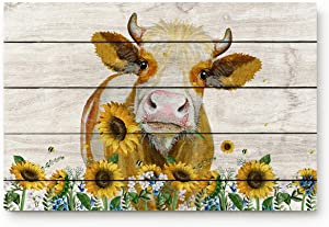 ALAGO HOME Doormats Entrace Door Rug, Western Country Farmhouse Cow with Sunflower,Indoor/Bathroom/Kitchen/Bedroom/Entryway Floor Mat Decorative, Non-Slip Low Profile,18x30 inch