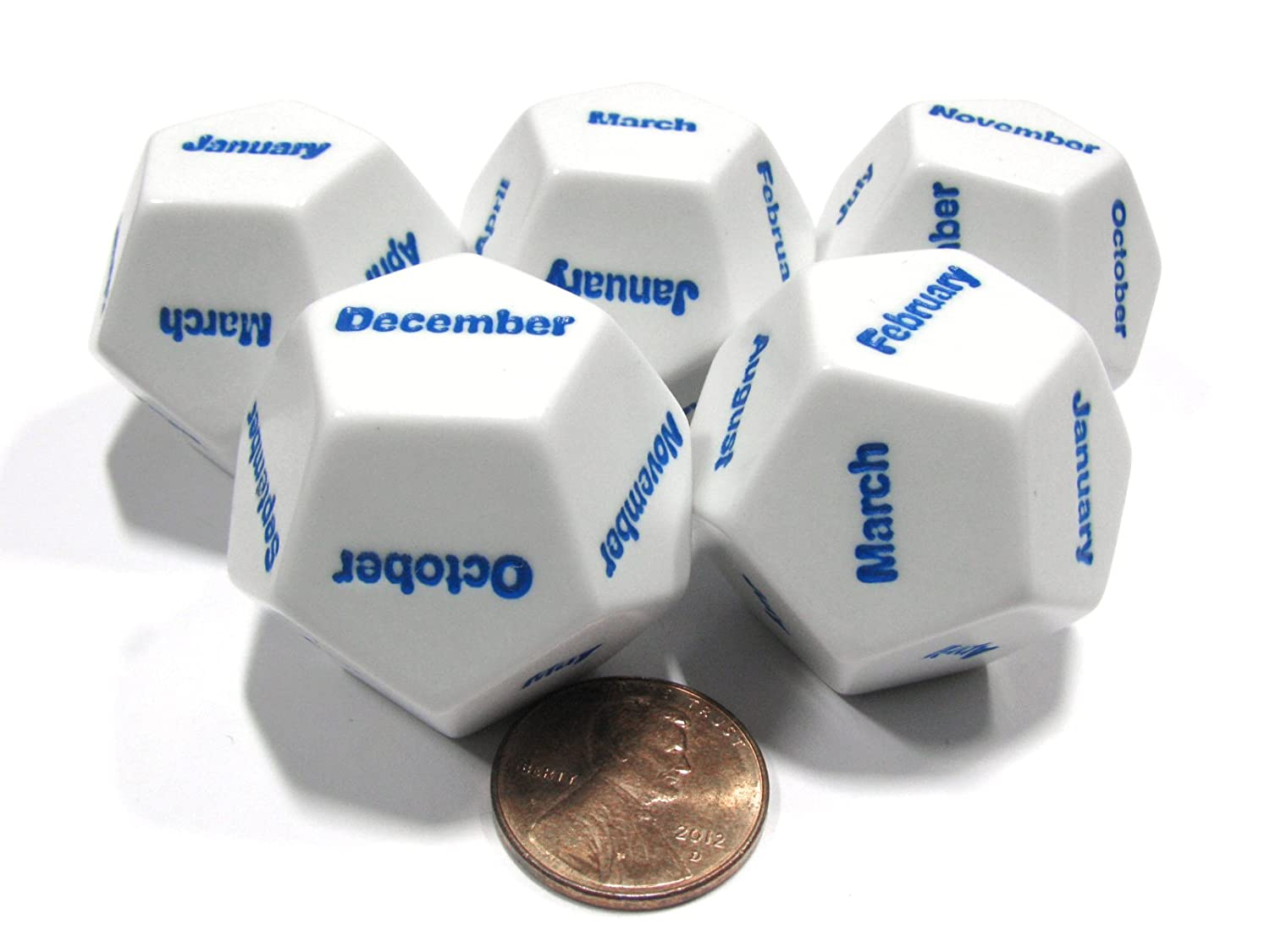 Set of 5 D12 Months of the Year Setting Educational Dice-White with Blue Letters B00WP35SHA