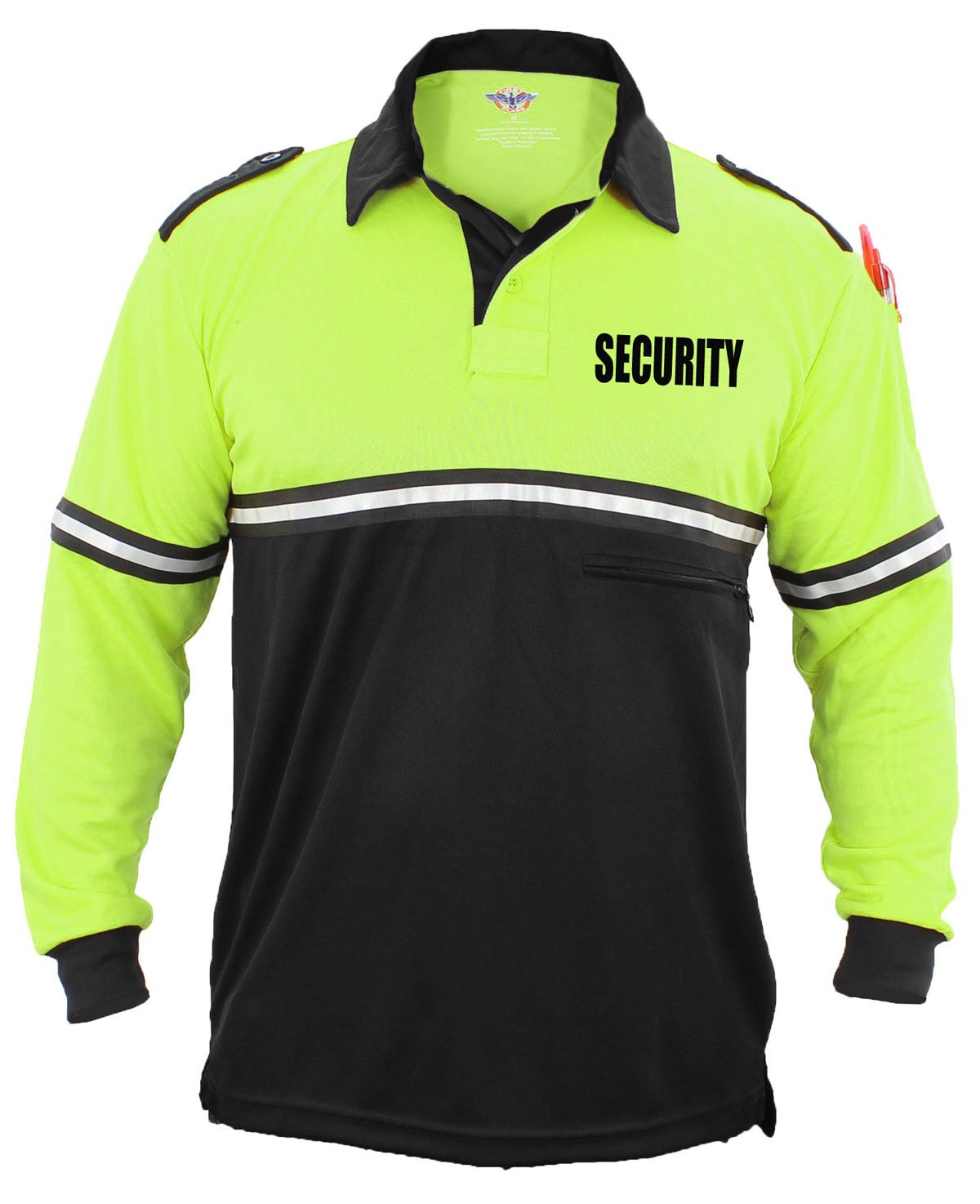 First Class Security 100% Polyester Two Tone Bike Patrol Shirt w/ Zipper Pocket - Long Sleeve (2X-Large, Lime Green and Black)