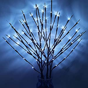4PACK Branch Lights Cool White LED Branches Decorative Light Battery Powered DIY Tree Willow Branches Lamp for Home Holiday Party Décor White -30Inch 20LEDs