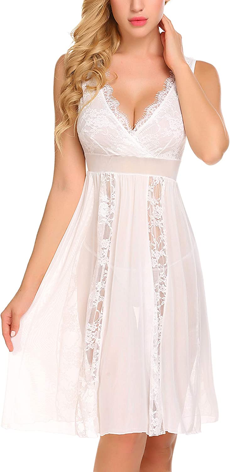 Avidlove Babydoll Lingerie for Women Sexy Nightgowns for Bride Lace Chemise Lingerie Nighty: Clothing