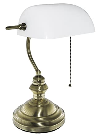 Amazon Com Rudy Bankers Desk Lamp 15 H White Glass Shade With