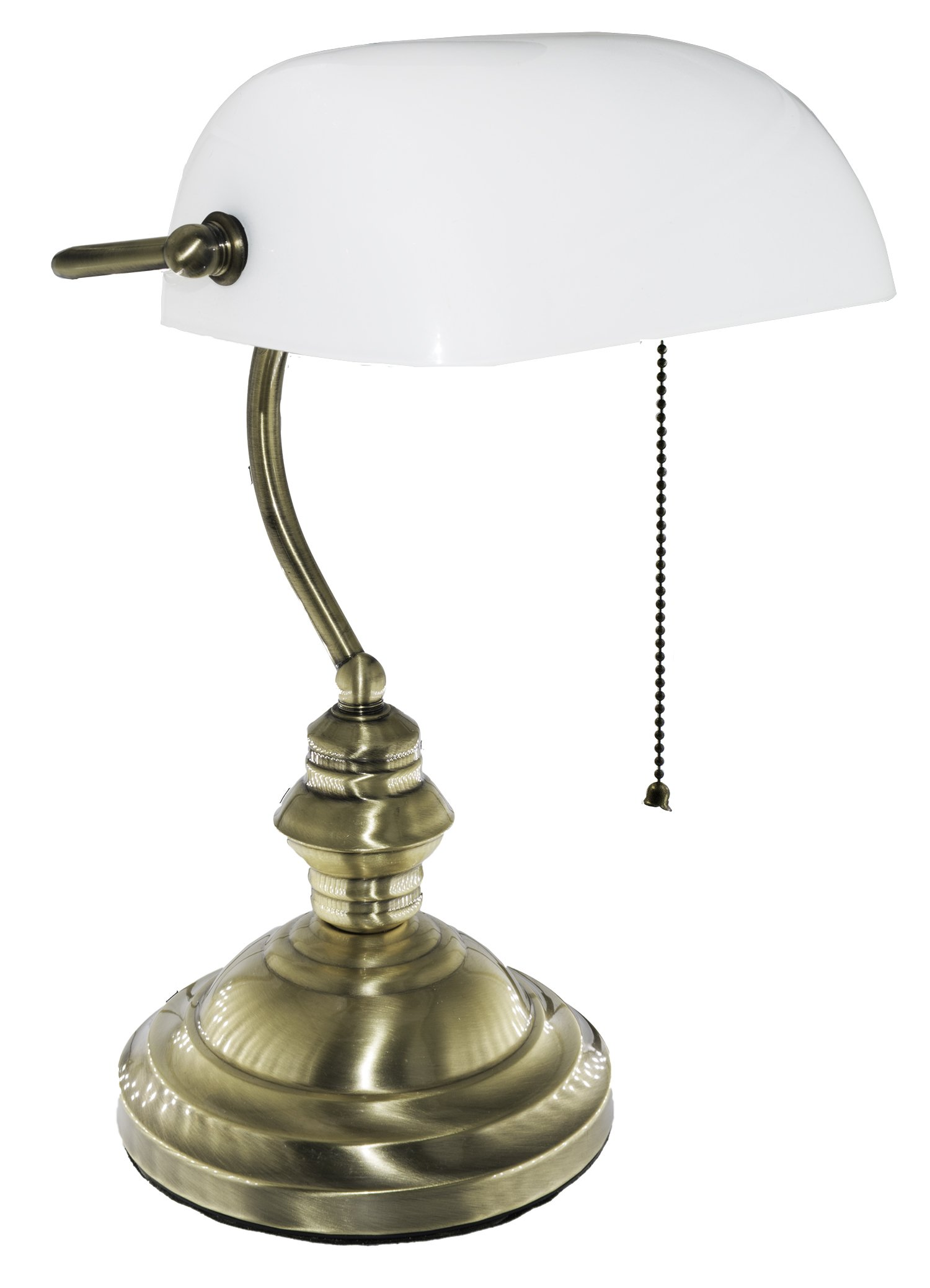 RUDY Bankers Desk Lamp 15''H, White Glass Shade with Brushed Gold Finish Brass Base