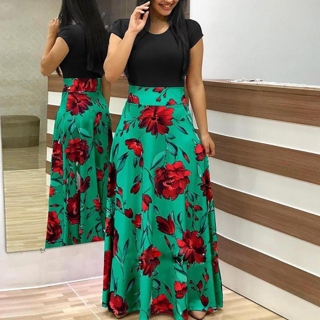 23f6b9f4fa Amazon.com  Hmlai Women Casual Maxi Dress Floral Printed Summer Short  Sleeve Elegant Party Long Sundress  Sports   Outdoors