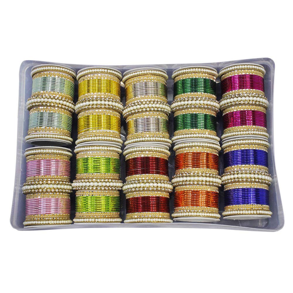 MUCH-MORE Amazing Bollywood Fashion Indian Bangles Box Multi Color Party wear Bangles Jewelry (2.4)