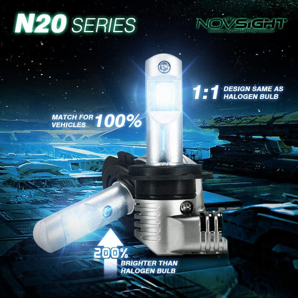 25W X2 HIR2 Lampadine Bulbi LED 50W 10000LM 6500 K Luci di ricambio per auto alogene e kit Xenon 2 lampade NOVSIGHT Faro LED 9012