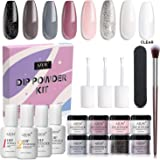 AZUREBEAUTY Nude Gray 8 Colors Dipping Powder Nail Starter Kit Acrylic Dipping Powder System Essential Kit for French Nail Ma