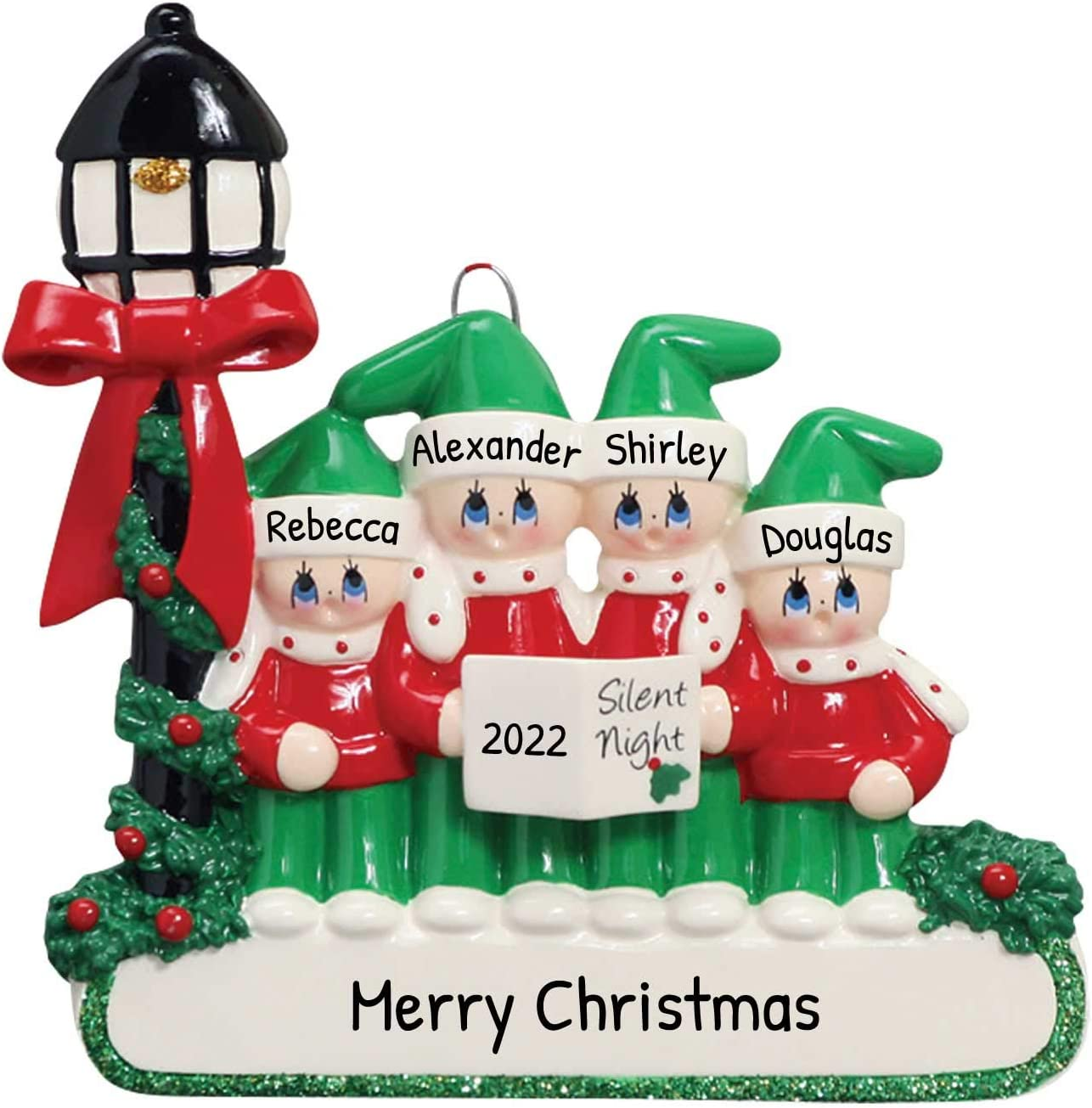 Religious Christmas 2020 Images Amazon.com: Personalized Carolers Family of 4 Christmas Tree